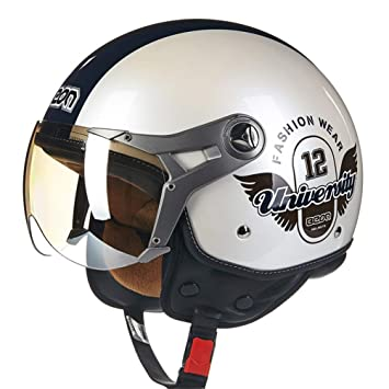73f8e696a0e51 Amazon.es  Hombres Mujeres Moto Cascos de Motocicleta Retro Air Force Half  Face Casco de Motocross Casco M-XL