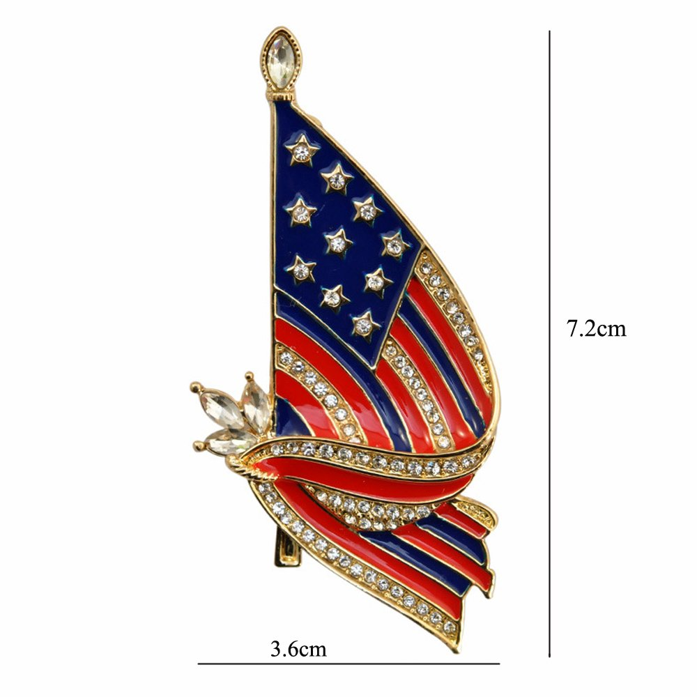 F-U Flag Brooches,Proudly Made in USA American Flag Jewelry Silver Enamel Lapel Pin by F-U (Image #2)