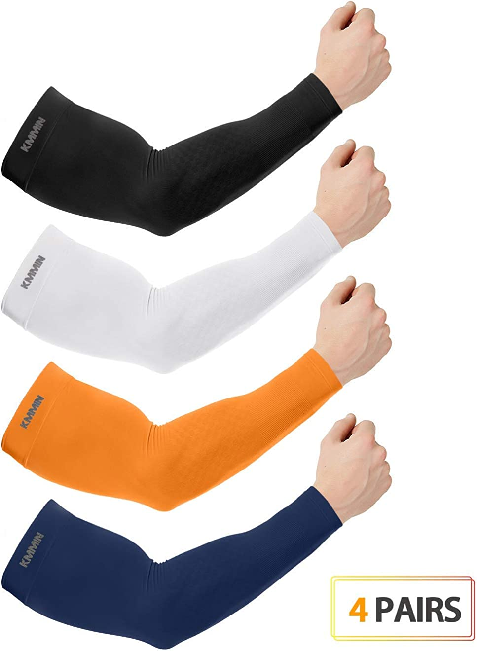 KMMIN Arm Sleeves UV Protection for Driving Cycling Golf Basketball Warmer Cooling UPF 50 Sunblock Protective Gloves for Men Women Adults Covering Tattoos, Black/White/Orange/Navy: Clothing