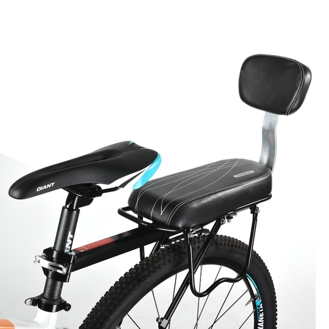 Amazon.com  Bike Seat Sanmersen PU Leather Bicycle Back Seat Cushion Child Bike Rear Rack Seat Cover Saddle With Back Rest Black with Line Pattern (Black ...  sc 1 st  Amazon.com & Amazon.com : Bike Seat Sanmersen PU Leather Bicycle Back Seat ...