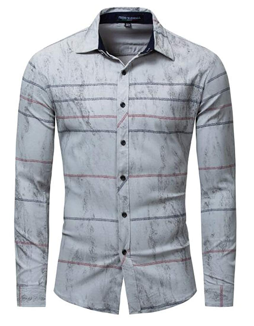 Gnao Men Long Sleeve Casual Striped Stretchy Color Block 100/% Cotton Button Up Shirt