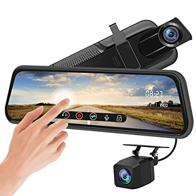 Backup Camera 10 inch Mirror Dash Cam Dual Lens Front Rear Dash Camera 1080P Full Touch Screen Video Streaming Rear View Mirror Loop Recording, Parking Monitor, Night Vision, Waterproof Rear Camera: Car Electronics