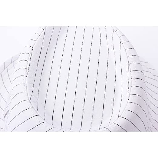 cdcd1307 YQ Unisex Pinstripe Trilby Fedora Hat Short Brim Adult Size White: Amazon.co .uk: Clothing