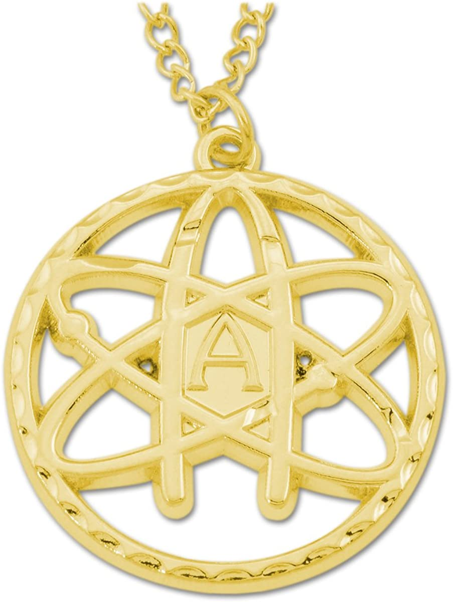 - EF-JWL-N-00039 1 12 Diameter Gold Atheist Atom Round Necklace -