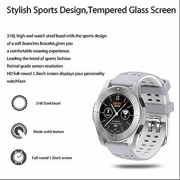 Sport reloj inteligente bluetooth frecuencia cardíaca Sensor de presión sanguínea con soporte GPS SIM Card Muñequera SmartWatch para Android IOS: Amazon.es: ...