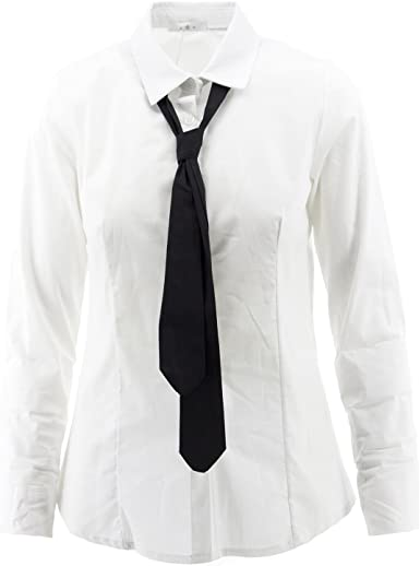 Netgozio - Camisa con Corbata de Mujer Blusa atornillada Manga Larga Camiseta clásica Slim Blanca L: Amazon.es: Ropa y accesorios