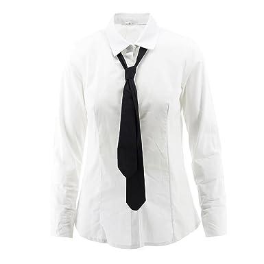 Netgozio - Camisa con Corbata de Mujer Blusa atornillada Manga ...