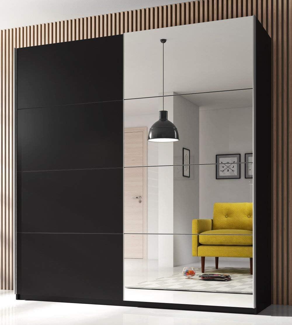 Helvetia 2-TRG - Armario con Puertas correderas Espejo para Dormitorio (200 cm), Color Negro: Amazon.es: Juguetes y juegos