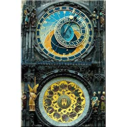 Made in Transylvania Clock in Prague Canvas Wall Art Print, 5 Stars Gift Star to night 23.62 x 35.43 in