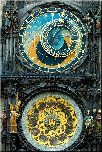 Made in Transylvania Clock in Prague Canvas Wall Art Print, 5 Stars Gift Star to night 23.62 x 35.43 in (Clock Wall Prague)