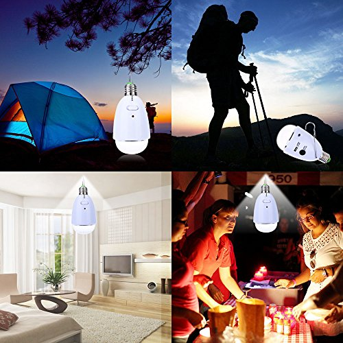 LightMe Multi-functional LED Solar Powered Light E27 12-LED Dimmable Lamp with Remote Controller for Camping, Hiking, Home Lighting, Emergency, etc.