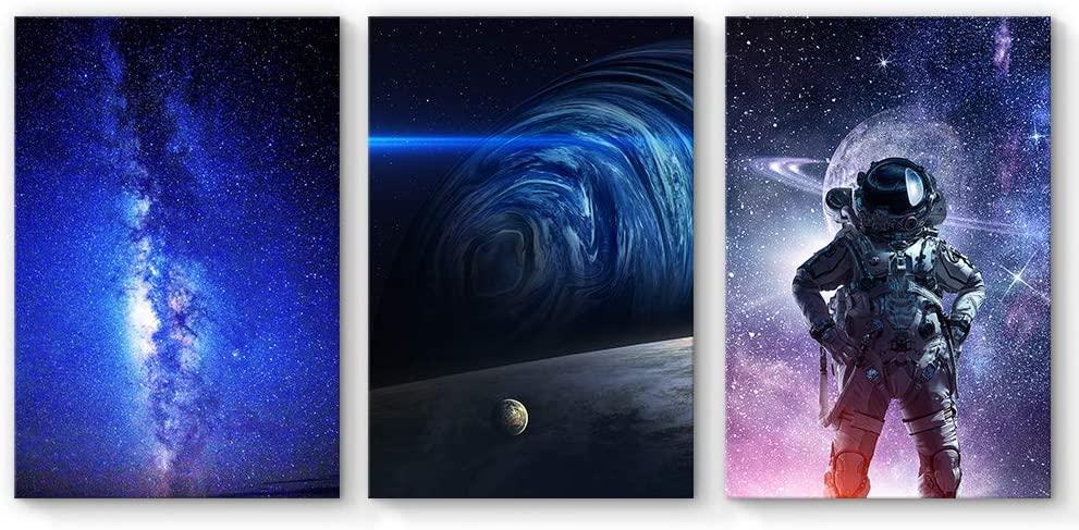 SIGNFORD 3 Panel Canvas Wall Art Wall Art Beauty Galaxy with Earth Kids Canvas Painting Wall Decor for Living Room Framed Home Decorations - 16