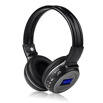 Zealot Auriculares Multifuncion inalambrico FM-Radio soporta Auriculares de Musica Estereo de Tarjeta SD MP3-Telefono Celular-Tablet con Pantalla LCD Negro ...