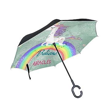 bennigiry unicornio Impresión Resistente al Viento Reverse plegable doble capa paraguas invertido con manos libres en
