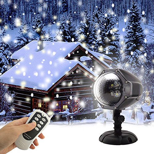 GAXmi LED Snowfall Light Remote Control Christmas Snow Falling Night Projector Lights White Snowflake Flurries Rotating Spotlight Outdoor Indoor Landscape Decorative Lighting (Stake Single Head)