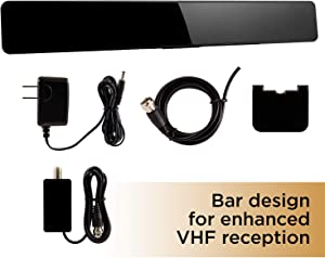 UltraPro TV Antenna, Newest 2020 Amplified Bar Design, Long Range Smart TV Indoor Antenna, Amplifier Signal Booster, Supports 4K 1080P HD Digital VHF UHF, Free HDTV Channels with Coax Cable, 47331