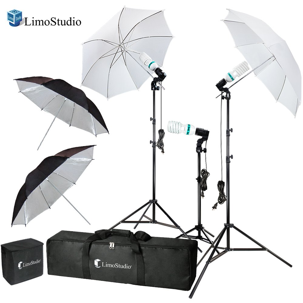 LimoStudio Photography Video Portrait Studio Daylight Umbrella Continuous Lighting Kit with Energy Saving Bulb, Photo Studio, AGG2332 by LimoStudio