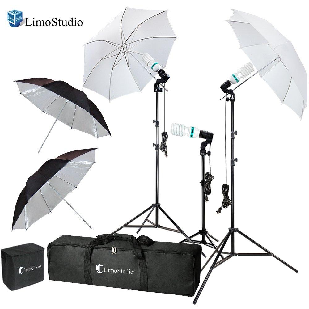 LimoStudio Photography Video Portrait Studio Daylight Umbrella Continuous Lighting Kit with Energy Saving Bulb, Photo Studio, AGG2332