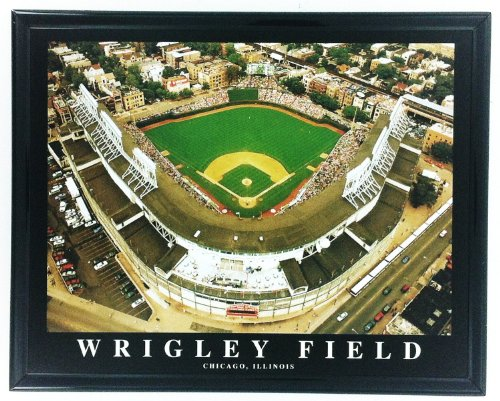 (MLB Framed Baseball Chicago Cubs Wrigley Field Baseball Stadium Wall Art F7537A)