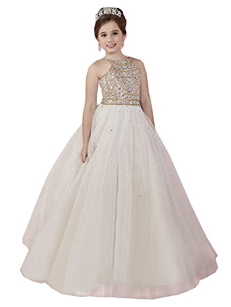 a1a599bfb Amazon.com  HuaMei Flower Girl Dress Size 6 8 10 12 Lace Girls ...