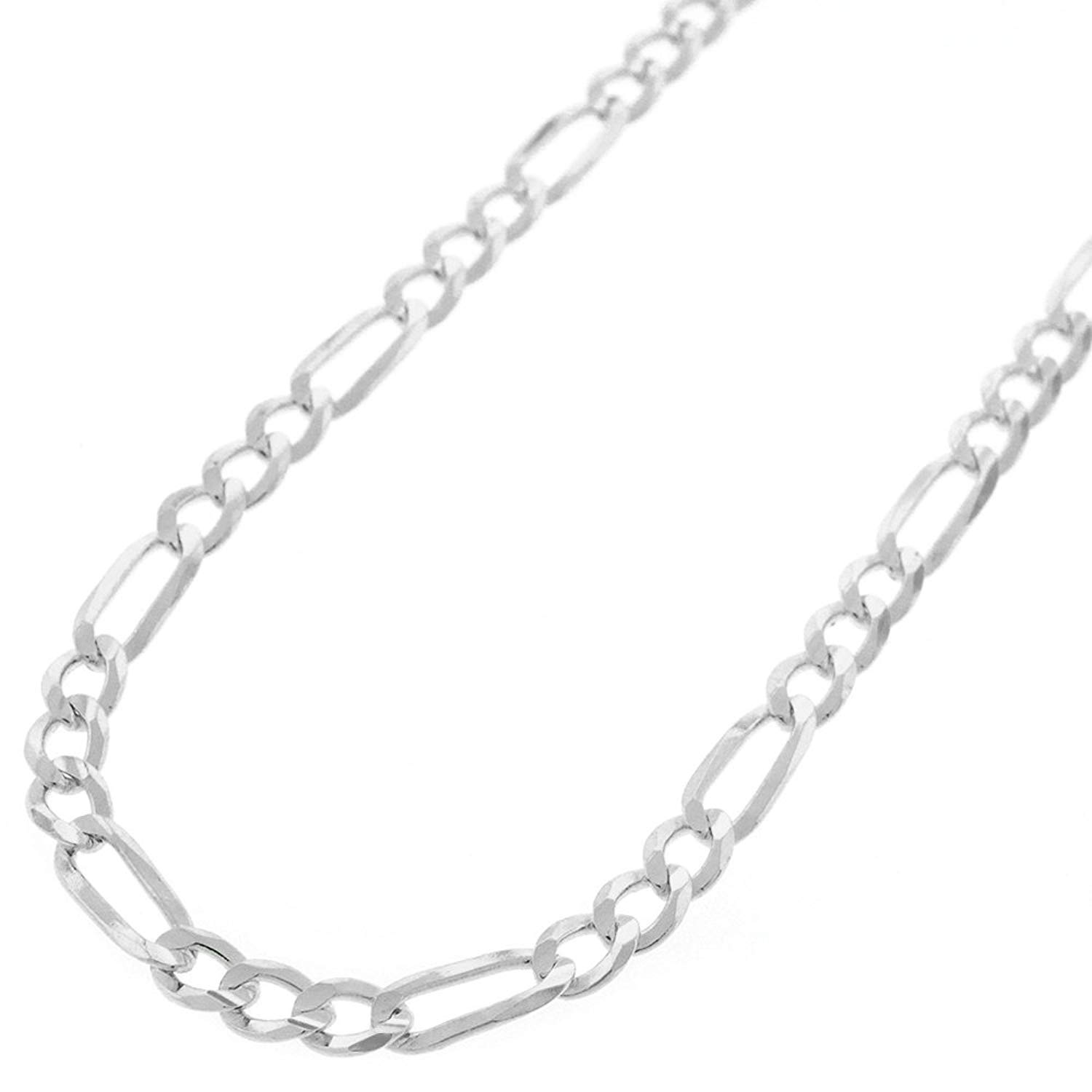 Sterling Silver Italian 4mm Figaro Link ITProLux Solid 925 Necklace Chain 16'' - 30'' (22)