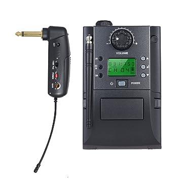 ammoon Sistema de Micrófono Inalámbrico Instrumento UHF Portátil con Receptor y Transmisor 32 Canales para Guitarra