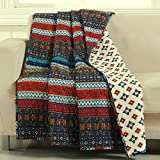 Finely Stitched Boho Chic Bohemian Quilt Throw Lap Blanket Geometric Chevron Stripe Floral Design Dark Blue Red Luxury Reversible Bedding - Includes Bed Sheet Straps