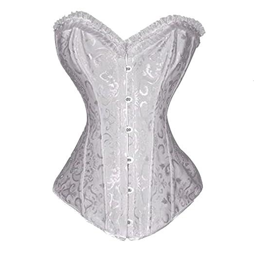 8ef19ffbbd Muka Women Steel Boned Corset Plus Size Bustier Waist Cincher Halloween  Corset WHITE-M