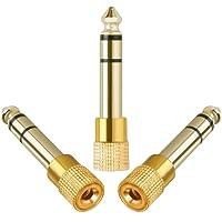 Anpro 3PCS Adapteur Jack Audio Contacteur 6.5mm Mâle vers 3.5mm Femelle -Or