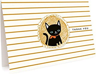 product image for Black Cat Thank You Cards, 6-Pack by Night Owl Paper Goods