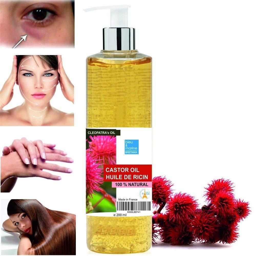 Aceite de Ricino Puro Natural 200 ml - Castor Oil - Aceite de Belleza Anti bolsas, Suavizante Cabello, Hidratante Rostro, Nutritivo Piel y Reparador ...