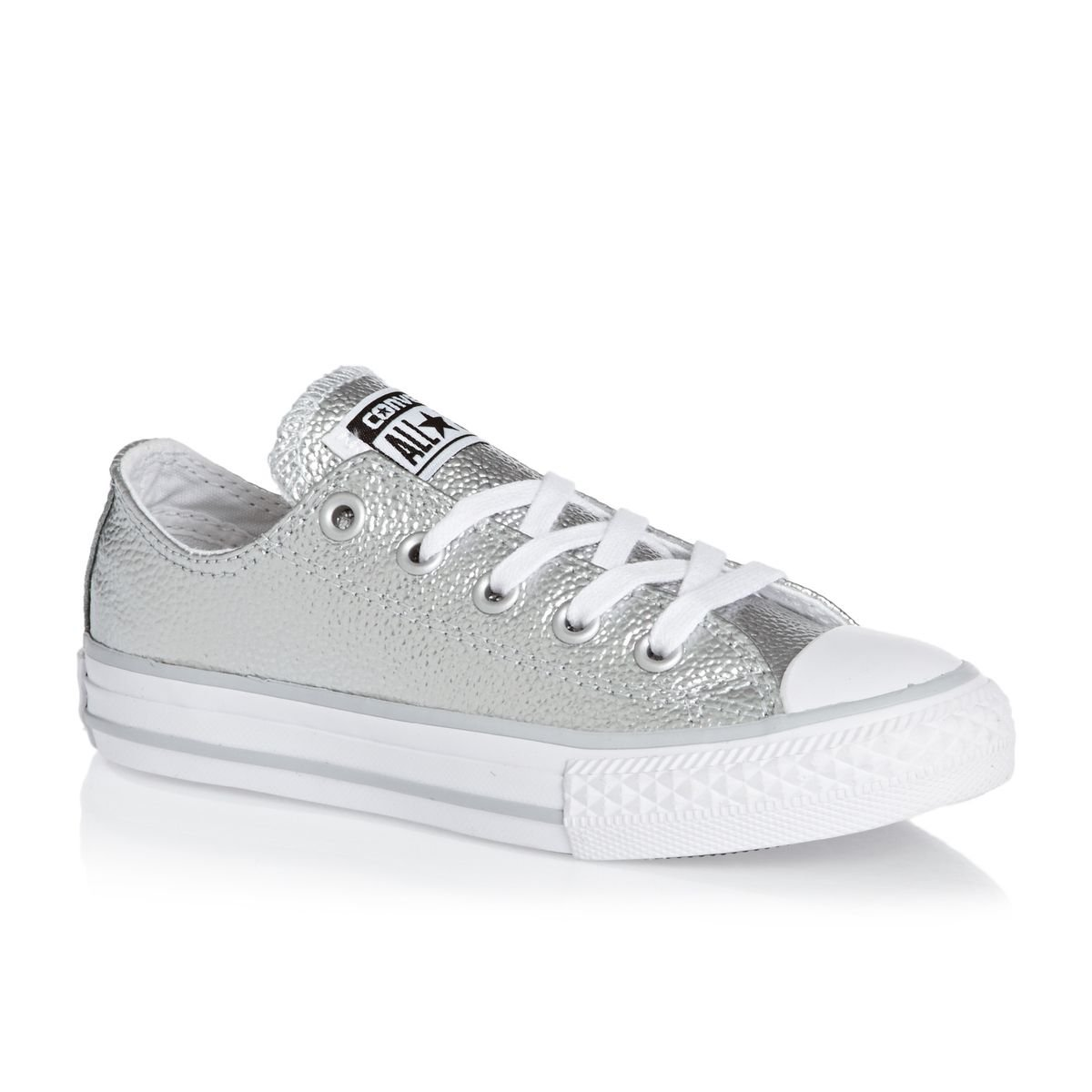 Converse Chuck Taylor All Star Leather Metallic Ox Junior Trainer Silver US 11.5