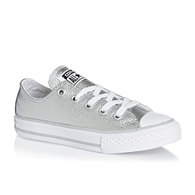 9aa7bff686f0 Converse Chuck Taylor All Star Leather Metallic Ox Junior Trainer Silver - US  11.5