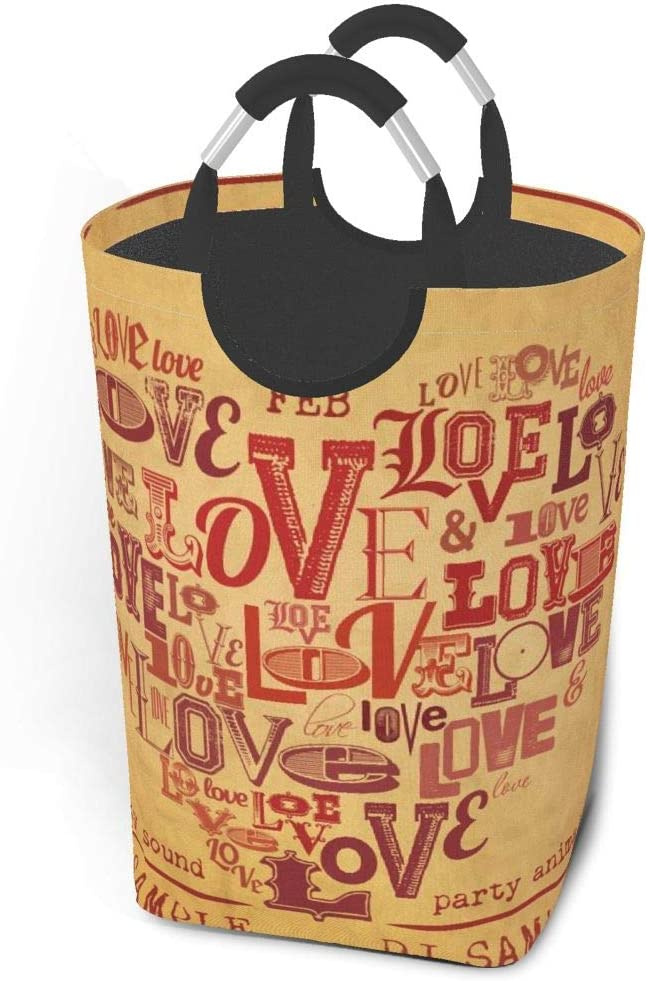 biye Laundry hampers for Bedroom Dirty Clothes Pack Vintage Valentines Day Party Flyer DesignCollapsible Fabric Laundry Hamper, Foldable Clothes Bag, Folding Washing Bin 12.6X22.7 Inch