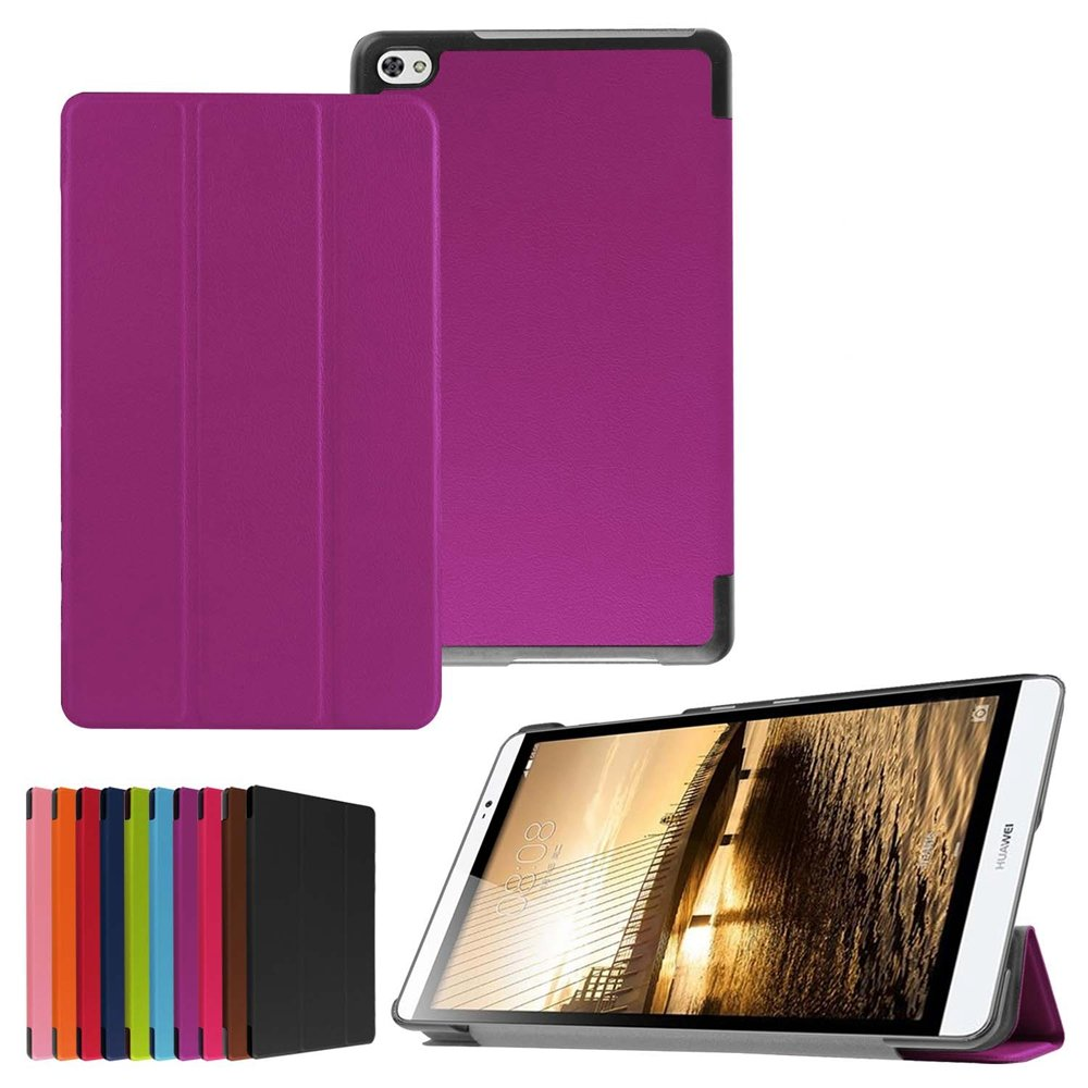 Purple Ultra Slim PU Leather Folding Tablet Case with Stand and Magnetic Auto Wake Sleep Function for Huawei Media Pad M2 8.0 Inch Android Tablet HZSSEC Smart Case Cover for Huawei MediaPad M2 8.0