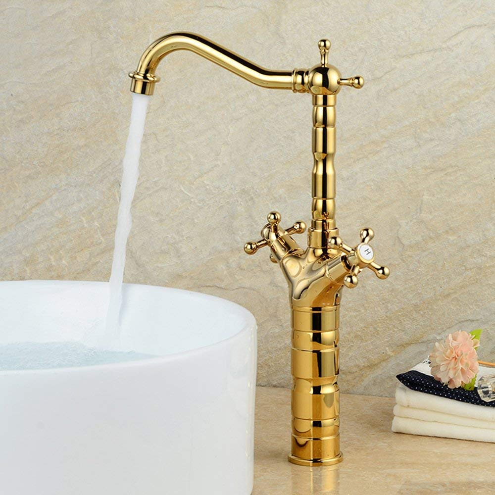 nostalgie haute or mitigeur lavabo mitigeur bain robinet Deux main maison de campagne 360//° Haute Embout de robinet de lavabo mitigeur m/élangeur /à bain Rallonge bec haut en laiton