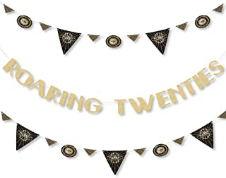 product image for Big Dot of Happiness Roaring 20's - 1920s Art Deco Jazz Party Letter Banner Decoration - 36 Banner Cutouts and No-Mess Real Gold Glitter Roaring Twenties Banner Letters