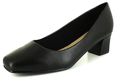 a8a003549f4 New Womens Ladies Wide Fitting Court Shoes.(4.5Cm Heel) - Black - UK ...