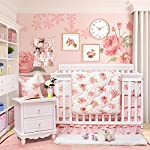 Brandream-Floral-Baby-Bedding-Set-for-Girls-Crib-Bedding-Set-with-Bumper-Pads-Luxurious-Princess-Nursery-Bedding-Blush-Rose-Flowers-Printed-8-Pieces