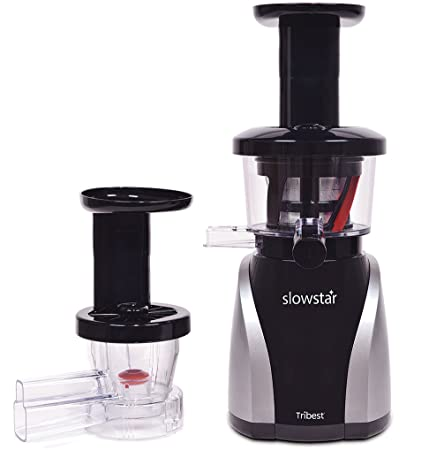 Tribest Slowstar Vertical Slow Juicer and Mincer SW-2020, Cold Press Masticating Juice Extractor in Silver and Black