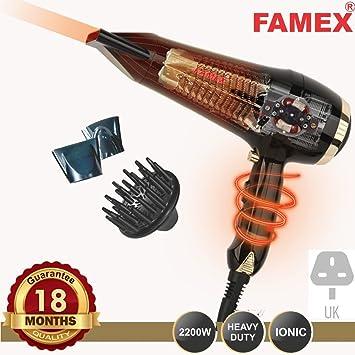 Famex profesional AC 2200 W Iónico estilo secador de pelo oro pro3508: Amazon.es: Belleza