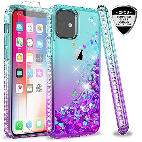 [해외]iPhone 11 Case (2019) with Tempered Glass Screen Protector [2Pack] for Girls Women LeYi Glitter Moving Quicksand Clear Phone Case for Apple iPhone 11 iPhone XI 6.1inch ZX TealPurple / iPhone 11 Case (2019) with Tempered Glass Scree...