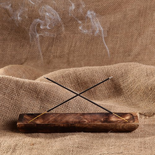 Incense Ash Catcher Wood - GoCraft Antique Wood Incense Ash Catcher | 10 inches Rectangular Shaped Incense Holder Trough for Aromatherapy