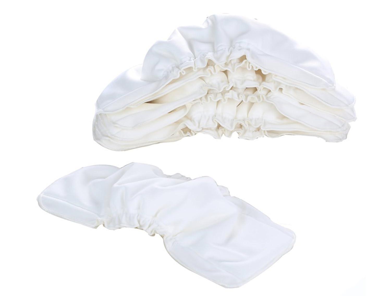 Taille Universelle 35x13.5cm Linges de Protection Lavables Tissu /Épais Tr/ès Absorbant /à Cinq Couches Coton Naturel de Bambou Pentaton 5x Inserts R/éutilisables pour Couches de B/éb/é Blanc