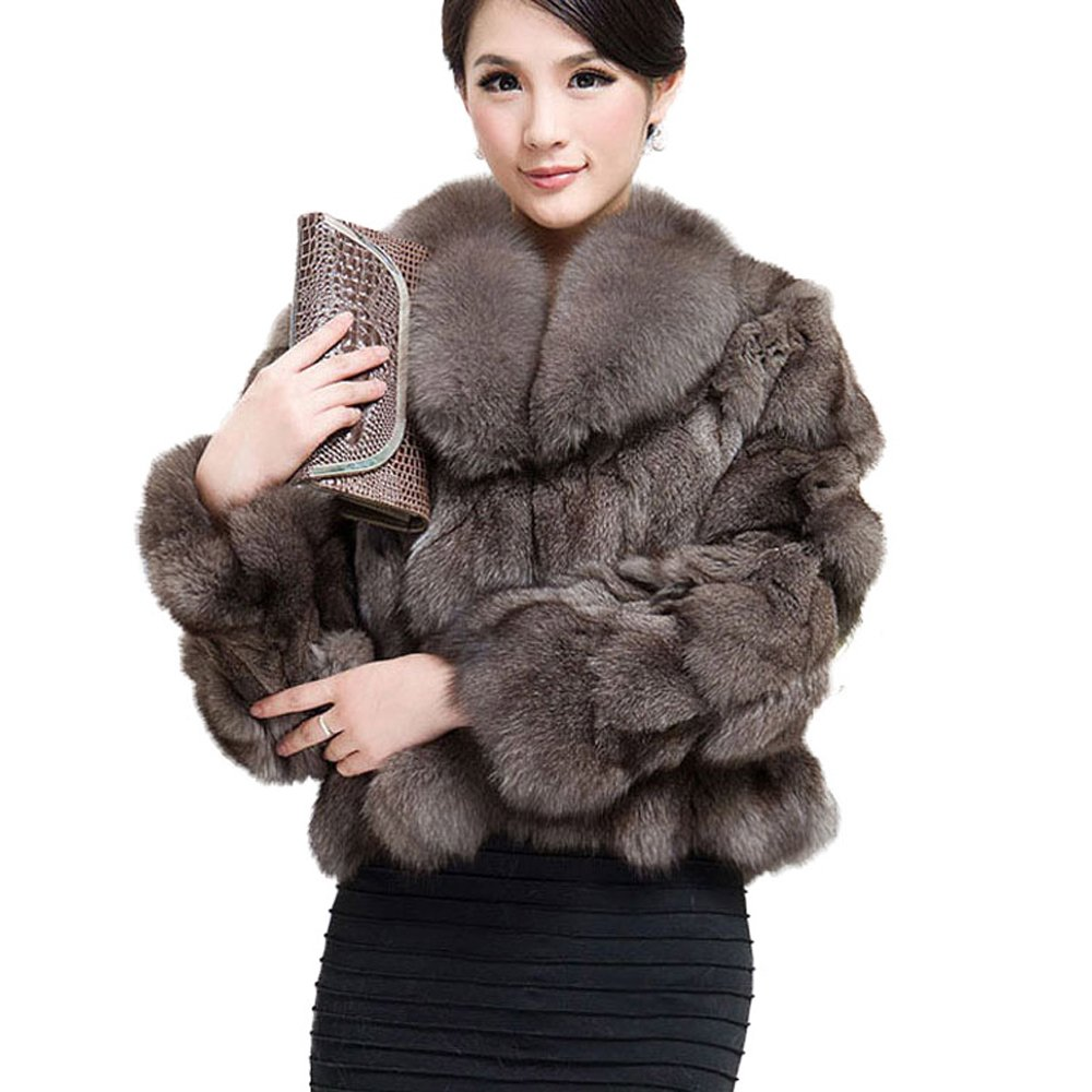 Fur Story Women's Real Fox Fur Coat With Fox Fur Collar Thick Warm Coat Full Sleeve US 8 (Khaki) by Furstory