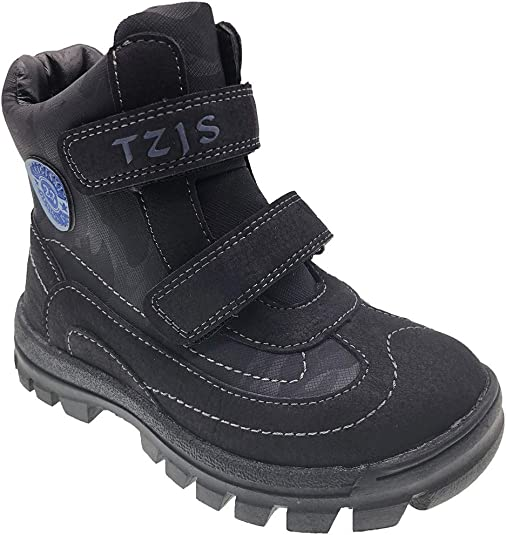 Toddler Boys BLACK HIKING BOOTS Rugged All Terrain SIDE ZIPPER /& LACES Size 7