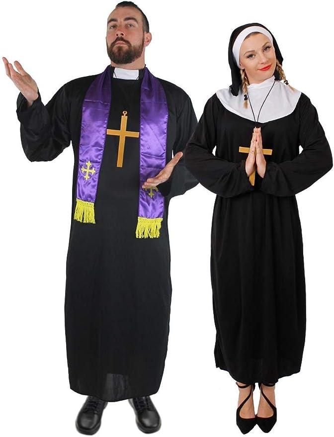 ILOVEFANCYDRESS - Disfraz de pareja de monja y cura para adultos ...