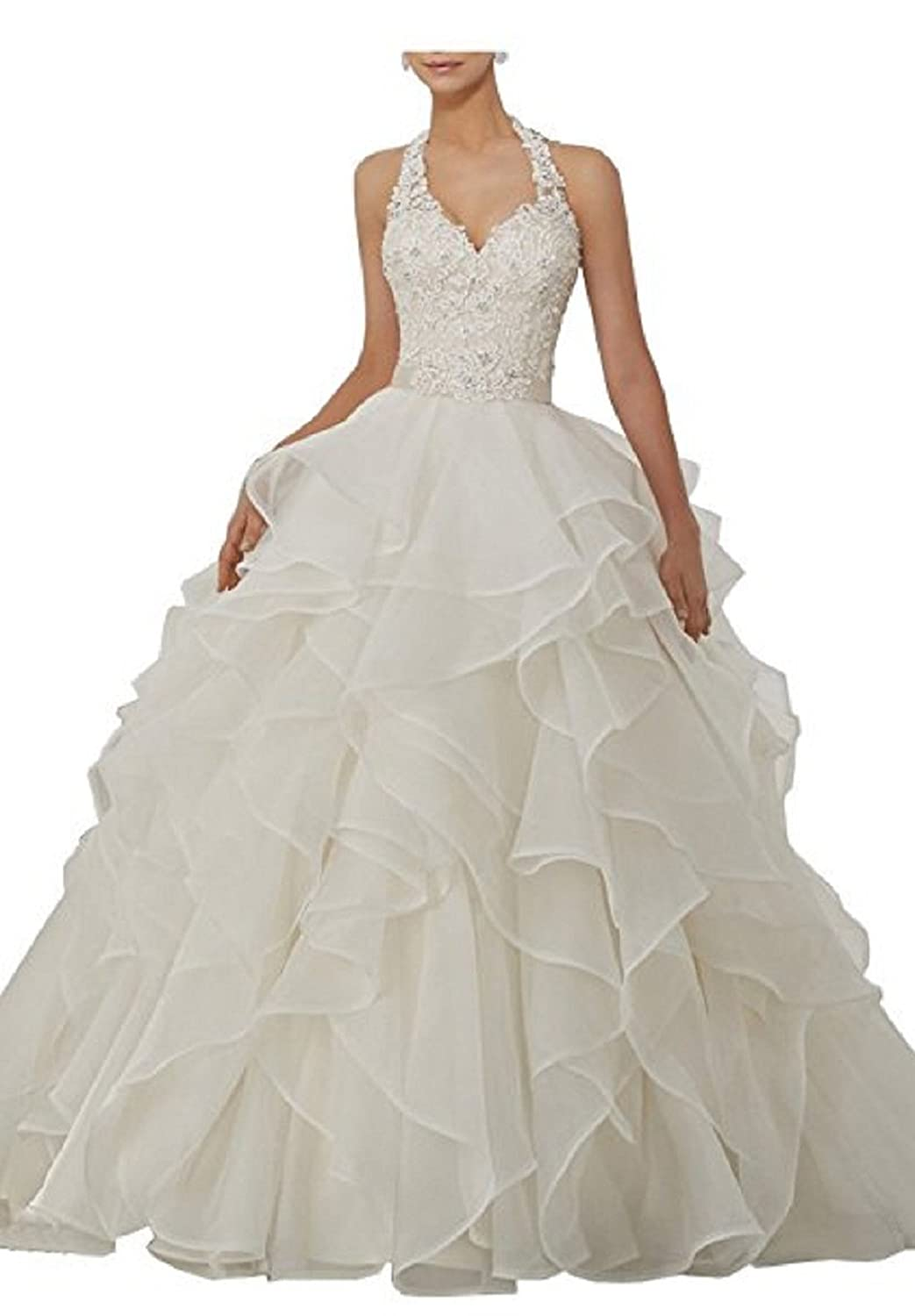 fd1e3bea55 Women s A-Line Sweetheart V Neck Tulle Lace Applique Wedding Dress Bridal  Ball Gown for Bride  Amazon.co.uk  Clothing