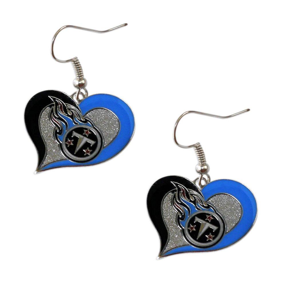 aminco NFL Womens NFL Sports Team Logo 3 4 Swirl Heart Dangle Earring Set