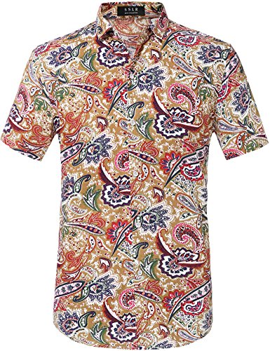 SSLR Men's Cotton Button Down Short Sleeve Hawaiian Shirt (Medium, Multicolor) (Button Mens Front Shirt)
